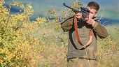 Bearded Hunter Spend Leisure Hunting. Hunting Equipment For Professionals. Hunting Is Brutal Masculi poster