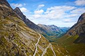 Norway mountain landscape with Trollstigen road.