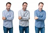 Collage of handsome senior business man over white isolated background skeptic and nervous, disappro poster