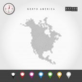 Dots Map Of North America. Simple Silhouette Of North America. Realistic Vector Compass. Set Of Mult poster