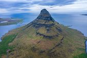 Aerial View Of Kirkjufell Mountain, Iceland poster