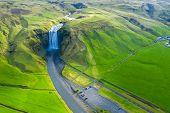 Aerial View Of Skogafoss Waterfall, Iceland By Drone poster