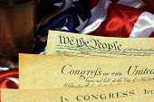picture of preamble  - Preamble to the Constitution of the United States and American Flag - JPG
