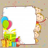illustration of kids peeping behind birthday card with gift and balloon