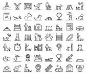 Dog Training Icons Set. Outline Set Of Dog Training Vector Icons For Web Design Isolated On White Ba poster