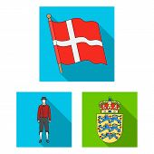 Traveling In Denmark Flat Icons In Set Collection For Design. Denmark And Attractions Bitmap Symbol  poster