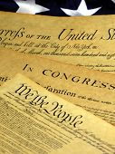 picture of bill-of-rights  - Preamble to the Constitution of the United States and American Flag - JPG