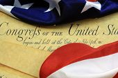 pic of preamble  - Preamble to the Constitution of the United States and American Flag - JPG