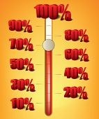 Progress bar with 3d numbers demonstrating percentages of growth - Jpeg version of vector illustration