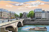 Colorful Vector Hand Drawing Illustration Of Pont Saint Michel Bridge, Landmark Of Paris, France. Ci poster