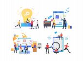 Set Of People Looking For Discounts. Group Of Men And Women Shopping Online. Sale Concept. Vector Il poster