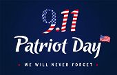 9.11, Patriot Day Usa Never Forget Navy Blue Poster. Patriot Day, September 11, 2001, We Will Never  poster