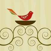 pic of bird-nest  - Set of retro style bird in a nest atop swirly vines - JPG