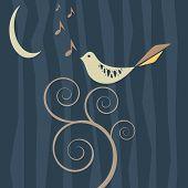 Retro Songbird In The Moonlight