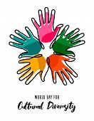 Cultural Diversity Day Illustration Card Of Colorful Human Hands United For Social Freedom And Peace poster