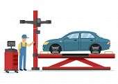 Car Service Worker And Blue Car On Cargo Lift. Service Station. Auto Service. Uniformed Worker Doing poster