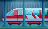 Railway Station Concept Background. Cartoon Illustration Of Railway Station V Concept Background For poster