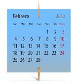 Calendario febrero 2013 en Español
