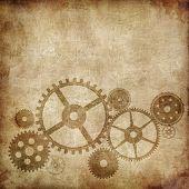 Mechanism on Old Paper Background. Vector Illustration. EPS 10.
