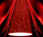 stock photo of movie theater  - movie or theatre curtain with a spotlight - JPG