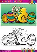 Ilustración de dibujos animados de Chick de Pascua para colorear