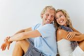 Happy young couple at home