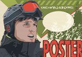 Old snowboarding vintage poster, winter sports vector illustration
