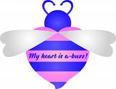 My heart is a-buzz, pink and purple