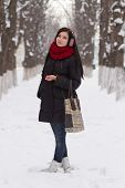 Girl Walking Outdoors In Winter