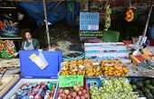 CHIANGMAI - NOVEMBER 30: Fresh fruit vendor waits for tourists at the Doi Suthep Temple in ChiangMai