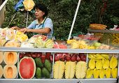 CHIANGMAI - NOVEMBER 30: Fresh fruits vendor wait for tourists at the Doi Suthep Temple in Chiang Ma
