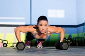 stock photo of kettlebell  - Gym woman push - JPG