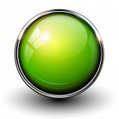 image of orientation  - Green shiny button with metallic elements - JPG
