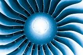 picture of rotor plane  - Close up detailed view of airplane engine turbine blades - JPG