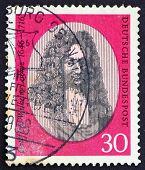 Postage Stamp Germany 1966 Gottfried Wilhelm Leibniz