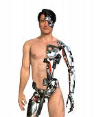 stock photo of artificial limb  - A man has had large areas of his body replaced with robotic parts  - JPG