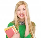 Happy Teenage Student Girl Telling Good News