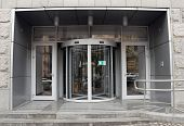 pic of revolver  - Revolving door in reception of office building - JPG