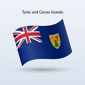Turks and Caicos Islands flag waving form.