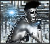stock photo of mohawk  - A sexy 3d android on silver abstract background in a silver frame - JPG