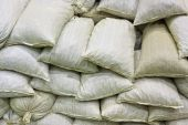 stock photo of sandbag  - Close up of the bags with product - JPG