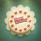 Vector white birthday cake with cream and cherries. View from above. Elements are layered separately