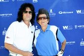 MOOREPARK, CA - SEPT 16:  Tommy Thayer and Gary Mule Deer arrive at the 6th Annual Scott Medlock & Robby Krieger Golf Invitational & All-Star Concert on September 16, 2013 in Moorepark CA.