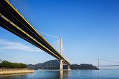 Ting Kau and Tsing Ma suspension bridge in Hong Kong