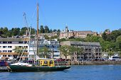 stock photo of dartmouth  - boats moored on the River Dart in Dartmouth - JPG