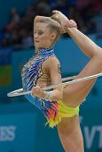KIEV, UKRAINE - AUGUST 30: Laura Jung of Germany in action during the 32nd Rhythmic Gymnastics World