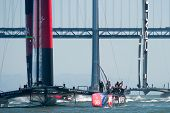 SAN FRANCISCO, CA - SEPTEMBER 12: Emirates Team New Zealand crew waves to crowd after winning their