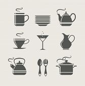 kitchen tableware set of icons. vector illustration