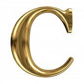 Golden font type letter C, uppercase