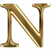 Golden font type letter N, uppercase
